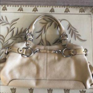 Tan Leather/ Gold Snakeskin Buckle Trim Handbag.